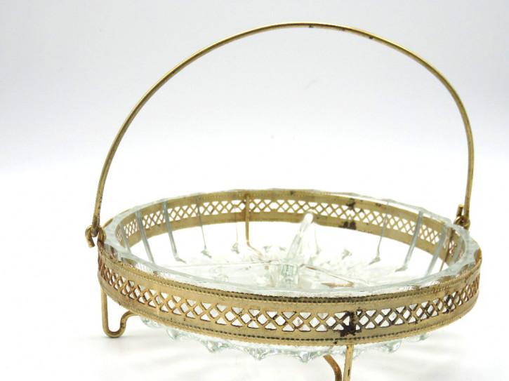 Aperetif Schale  Kristallglas im Plated Körb 19 JH