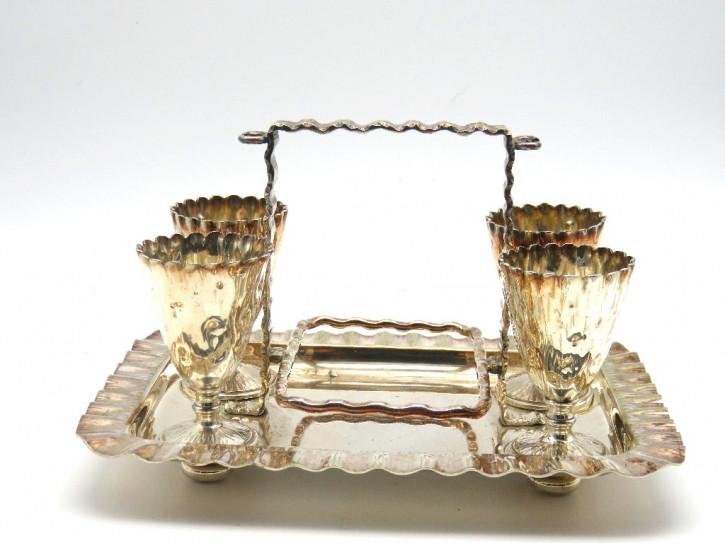 Eierbecher Set - plated   england 1890