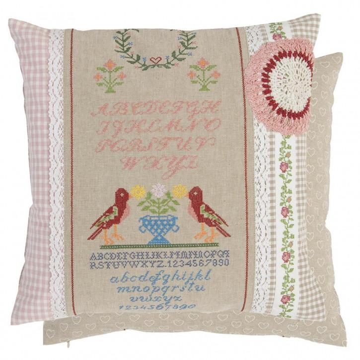 Kissenbezug ABC Vögel Folksy Stitches 40 x 40 cm