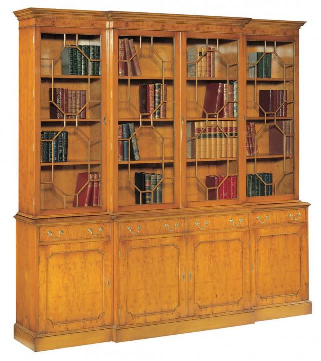 Bevan Funnell 4-Türiger Breakfront Bücherschrank mit Schubladen in Eibe