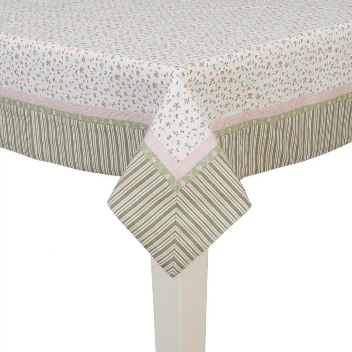 Tischdecke mit grün gestreiftem Rand 100*100cm