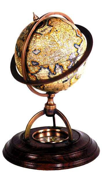 Globus - Terrestrial Globe mit Kompass