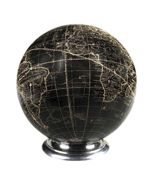 Globus Black Sphere on Aluminium Base