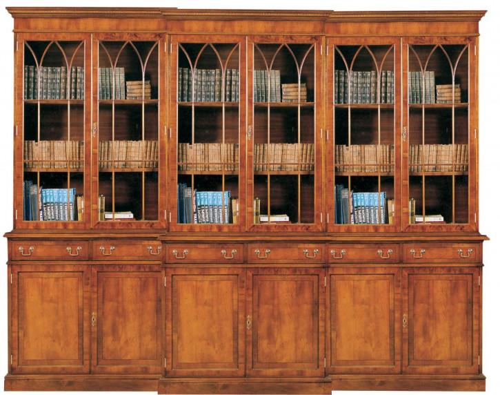 6-türiger Georgian Bookcase Breakfront Bücherschrank