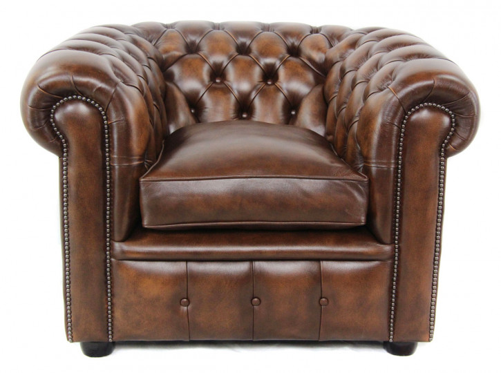 Chesterfield London Classic Sessel in Birch Antik Gold