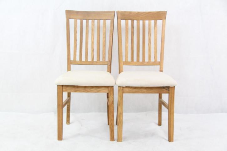 Paar Massive solide Esszimmerstühle helle Eiche