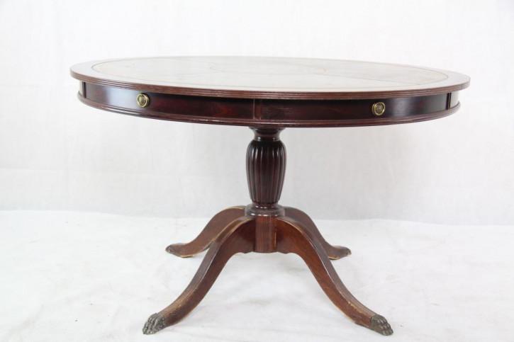 Runder Esstisch aus England, Mahagoni mit Lederplatte