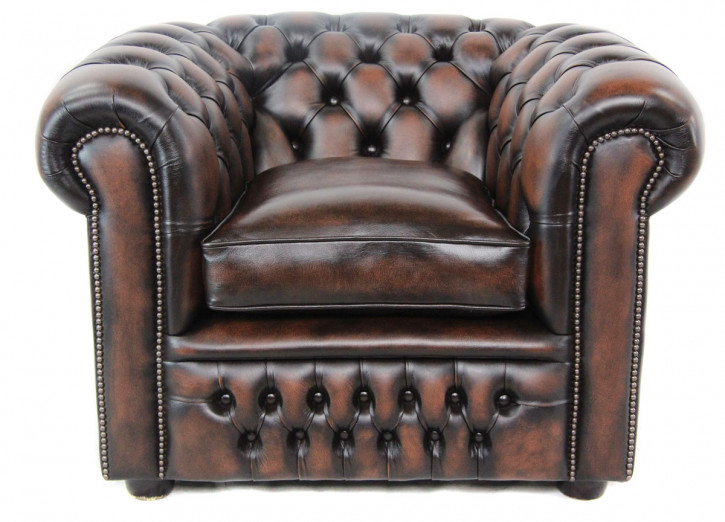 Chesterfield London Classic Sessel in Birch Antik Tan