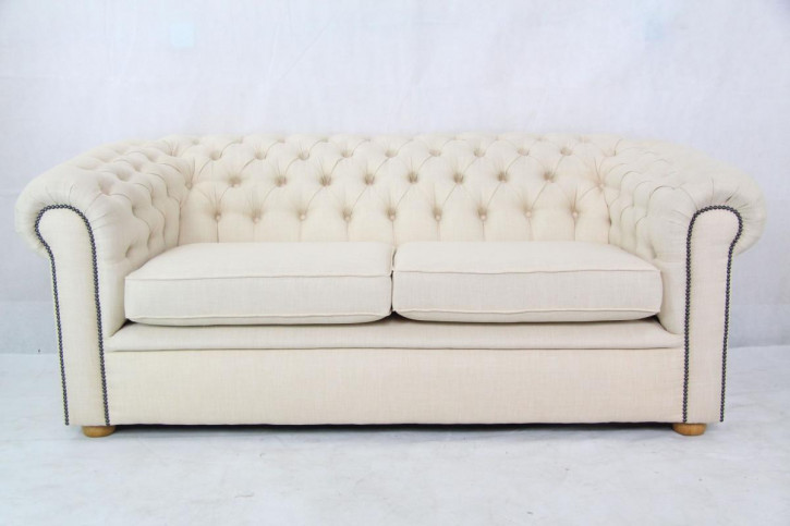 Chesterfield 3 seater stoff beige