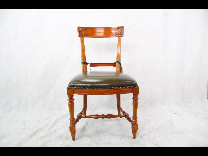 Mahagoni Stuhl  mit Ledersitz Chair Green Leather