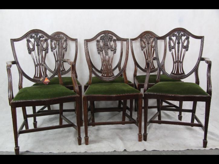 Mahagonistühle Georgian Style 6er Set Chairs, 2 Armchairs Green