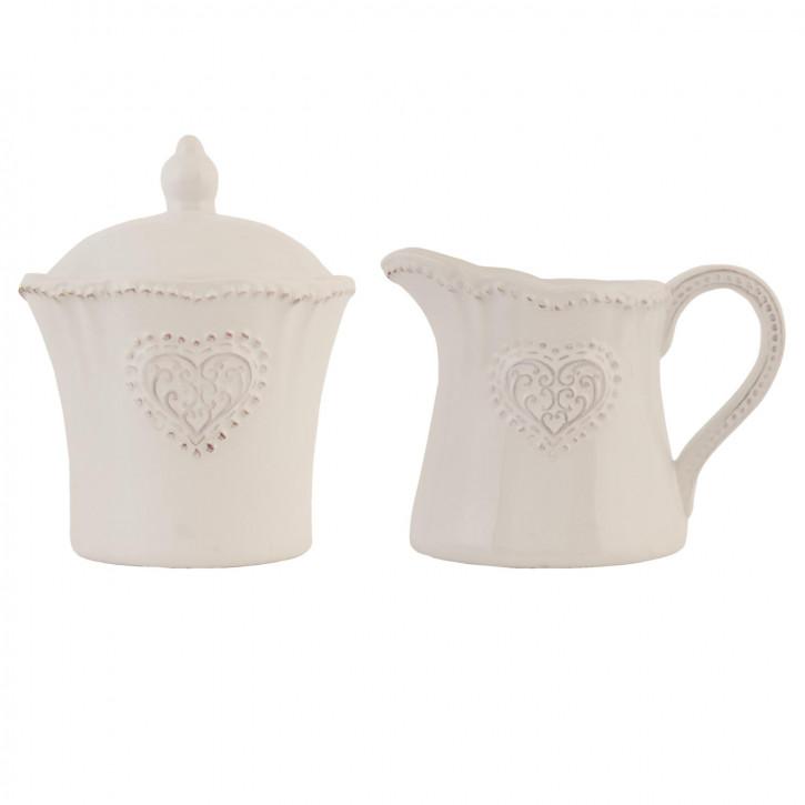 Milk jug & sugar bowl (set) ? 9x11/12x8x9 cm