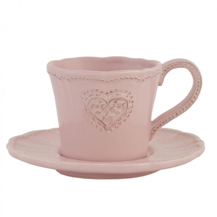 Kaffeetasse mit Untertasse Rosa Herz ca. 15 x 15 x 8 cm