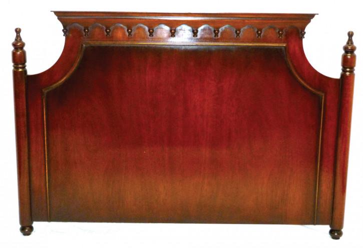 Bett Kopfteil in Antikoptik in Mahagoni Bettgestell aus Holz