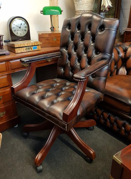 """Chesterfield Bürostuhl """"Gainsborough"""", braunes Leder"""