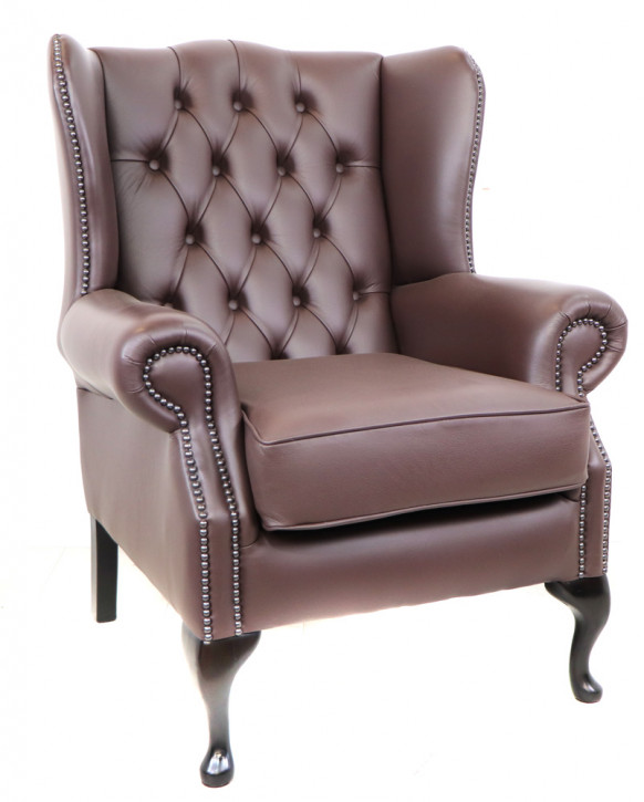 "Chesterfield Ohrensessel ""Queen Anne"" in Brown"