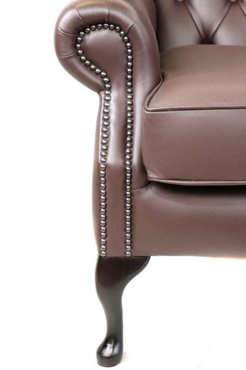 """Chesterfield Ohrensessel """"Queen Anne"""" in Brown"""