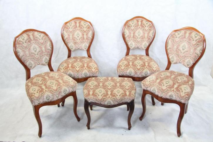 4er Satz Stühle Mahagoni  + Hocker