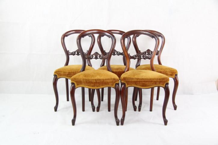 5 Ballonback Stühle Chairs Mahagoni Esszimmerstühle