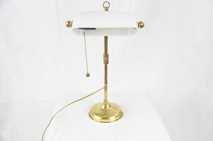 Bankerslamp Weiss/Gold  Messingmassiv