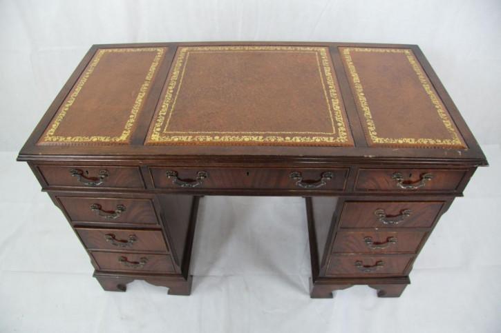 Schreibtisch Ledertop Mahagoni  Lederfläche mit Goldprägung