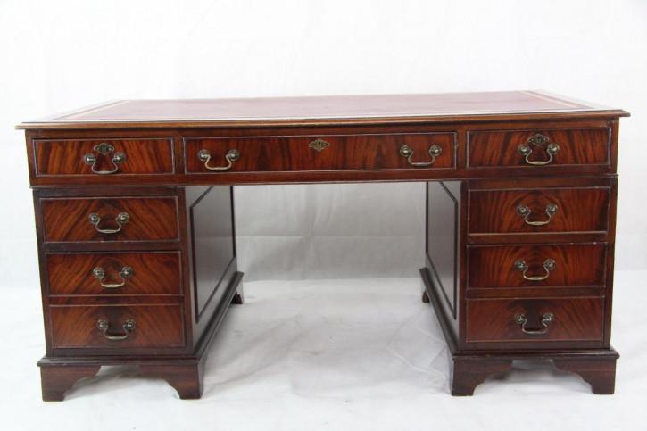 Schreibtisch Mahagoni aus England mit Lederfläche