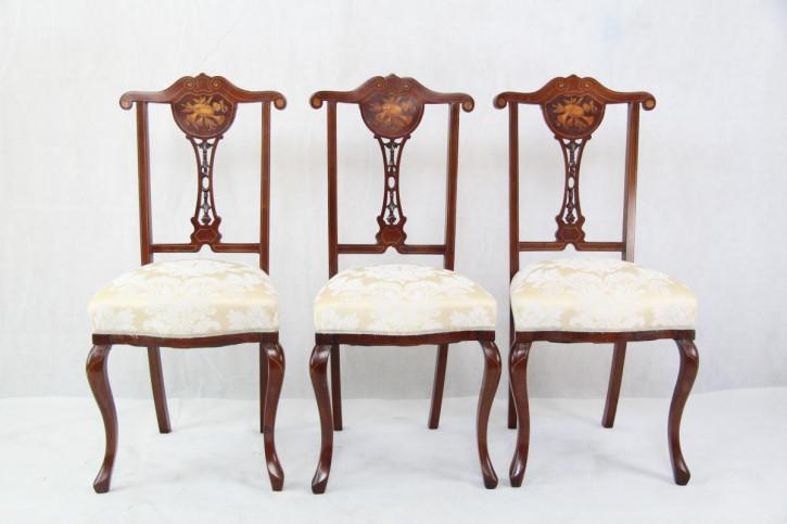 4er Satz Original Edwardian Esszimmerstühle mit Intarsien