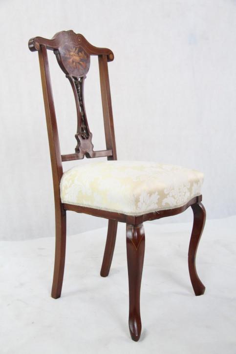 3er Satz Original Edwardian Esszimmerstühle mit Intarsien