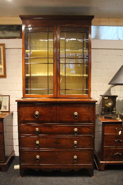 Secretary Bookcase Victorian Original Bücherschrank mahagoni
