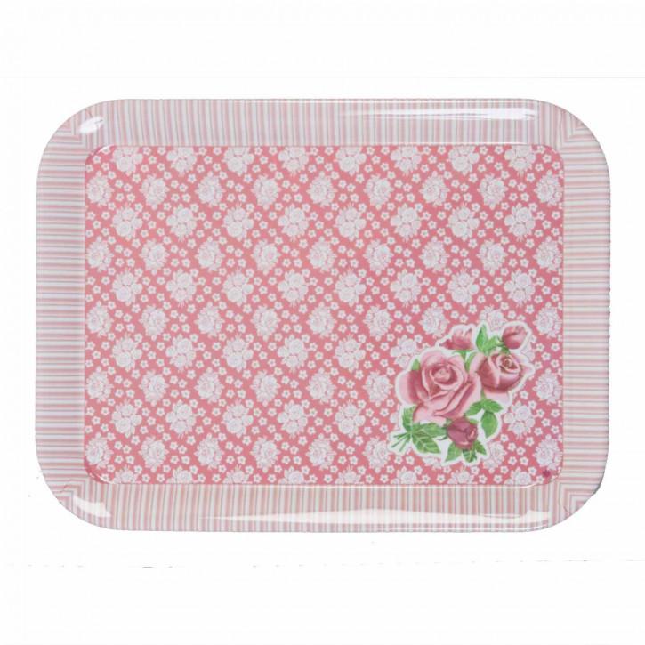 Tablett groß mit rosa Muster 29*39cm