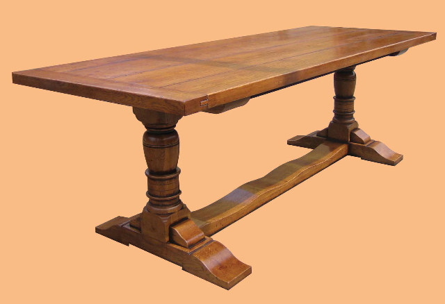 Oak Refectory Table Baluster Leg