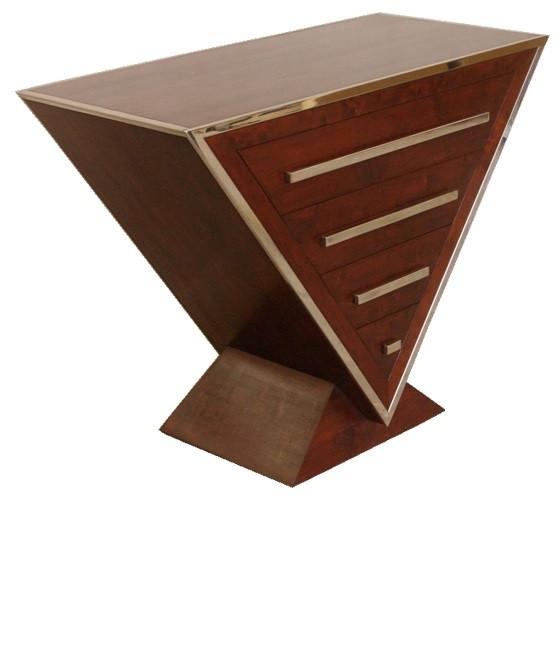Delta-Kommode Inox aus Edelstahl und braunem Holz - 4 Schubladen