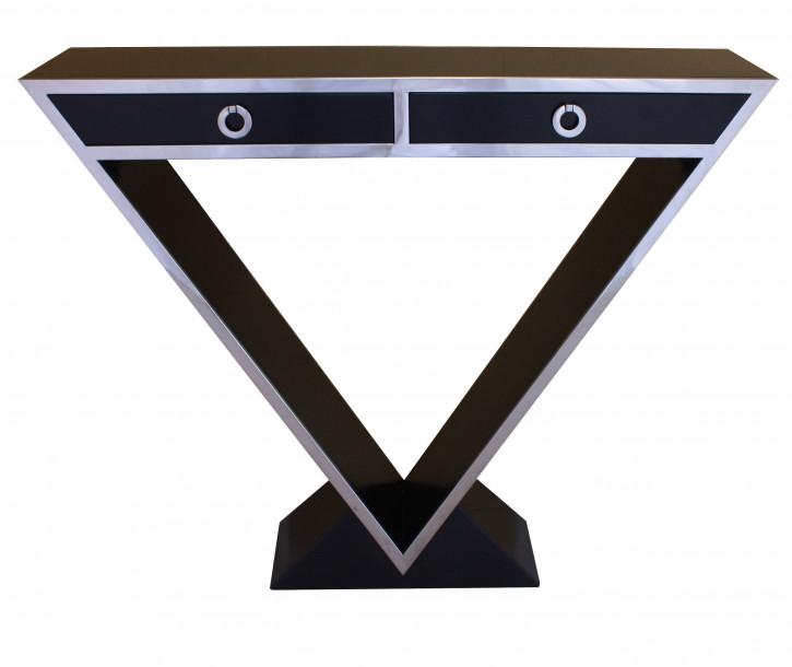 Delta-Kommode im Inox-Design aus Edelstahl und schwarzem Holz