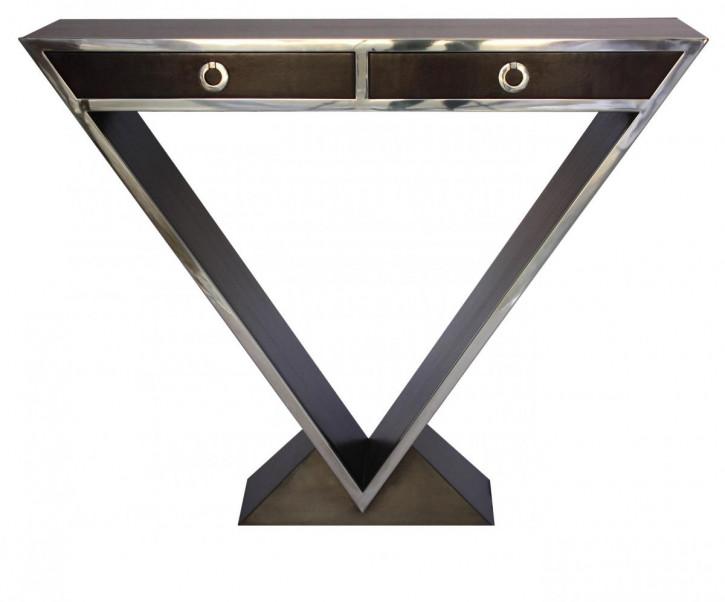 Delta-Kommode im Inox-Design aus Edelstahl und braunem Holz