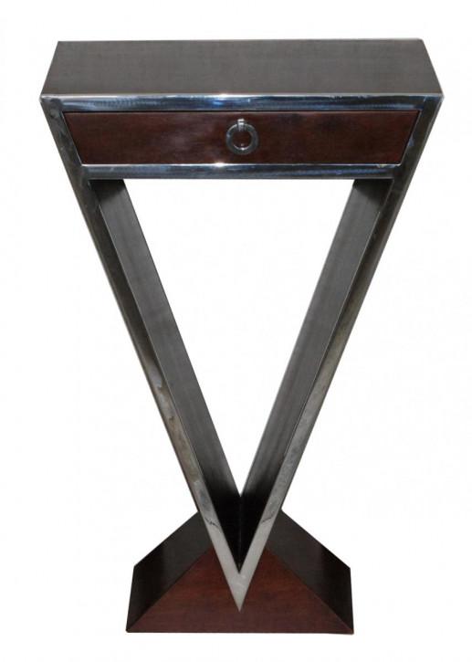 kleine Delta-Kommode im Inox-Design aus Edelstahl und braunem Holz