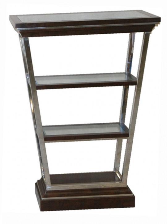 Kommode Etagere im Inox-Design aus Edelstahl und braunem Holz