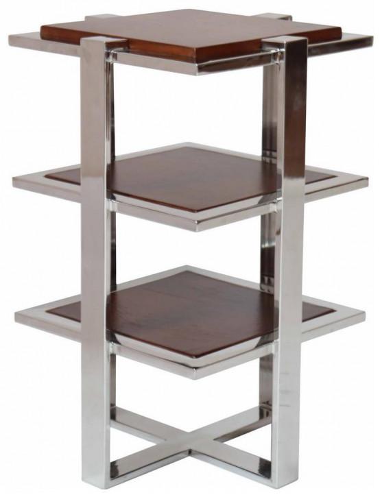 Etagere im Inox-Design aus Edelstahl und braunem Holz