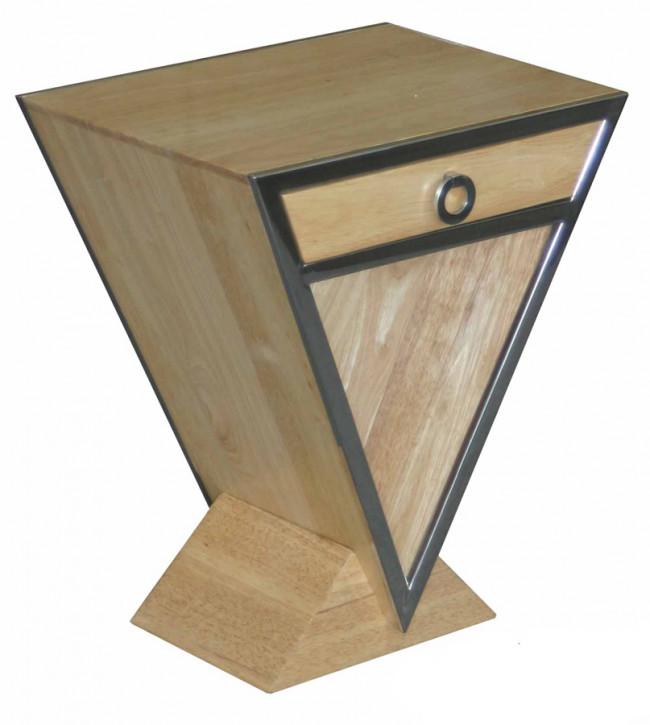 Kleine Delta-Kommode im Inox-Design aus Edelstahl und hellerem Holz