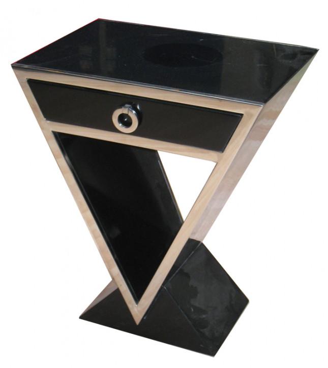 Kleine Delta-Kommode im Inox-Design aus Edelstahl und schwarzem Holz