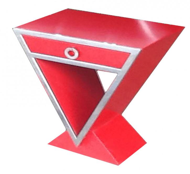 Kleine Delta-Kommode im Inox-Design aus Edelstahl und rot lakiertem Holz