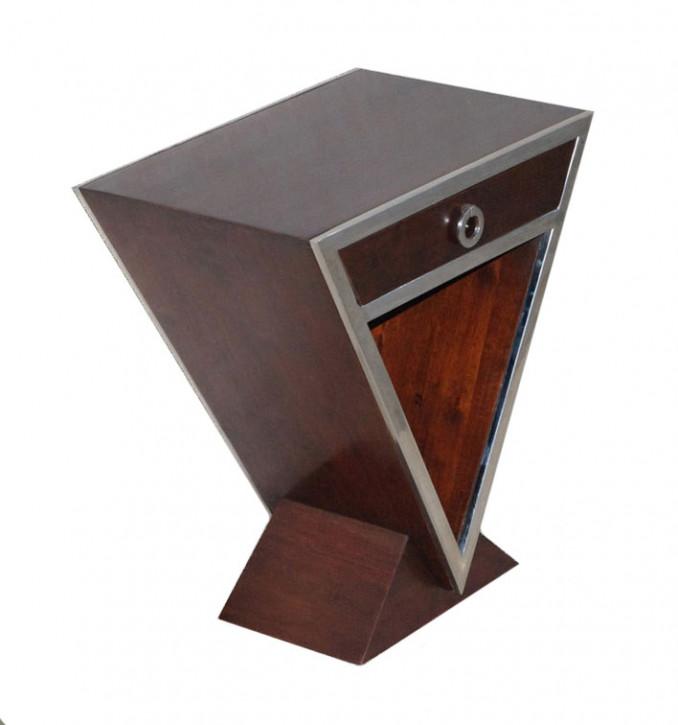 Kleine Delta-Konsole im Inox-Design aus Edelstahl und braunem Holz