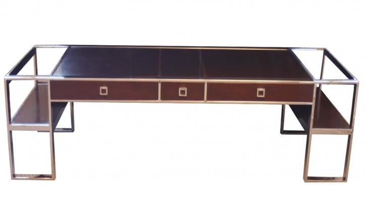 Schreibtisch Inox aus Edelstahl und dunklem Holz