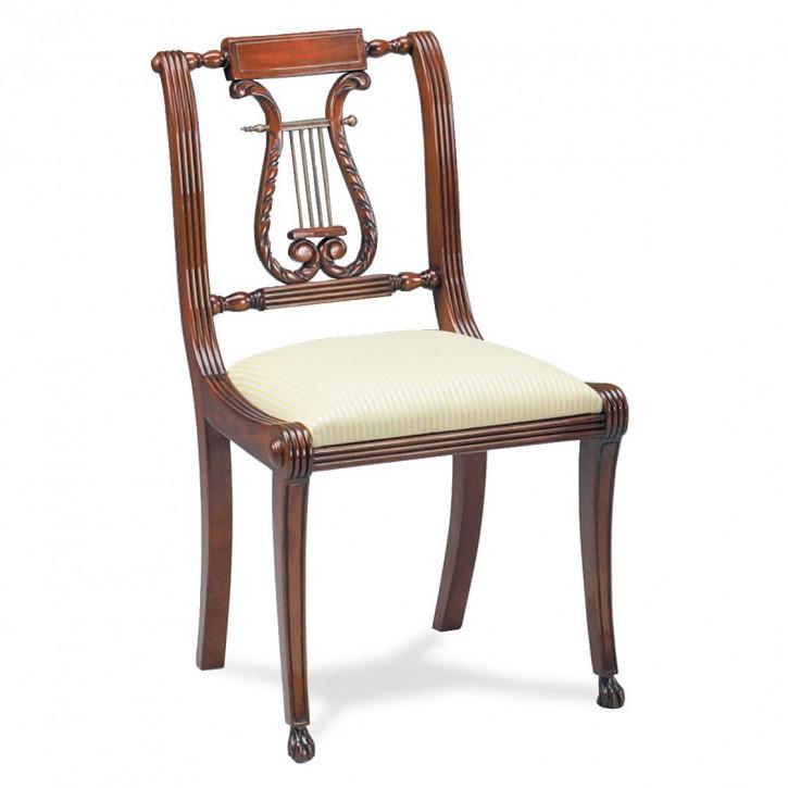 """Stuhl """"Lyre"""" Beistellstuhl aus Holz mit weißem Sitzkissen"""