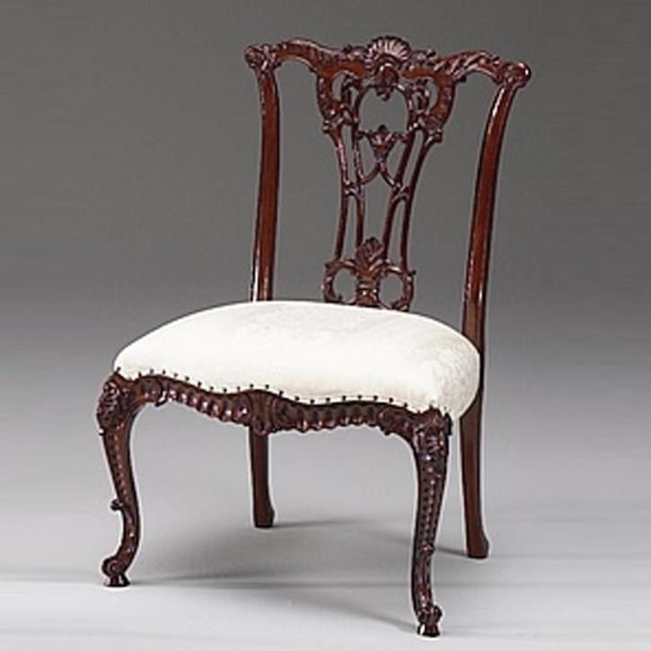 French Chippendale Beistellstuhl aus Holz mit Sitzkissen in weiß Holzstuhl Dekostuhl