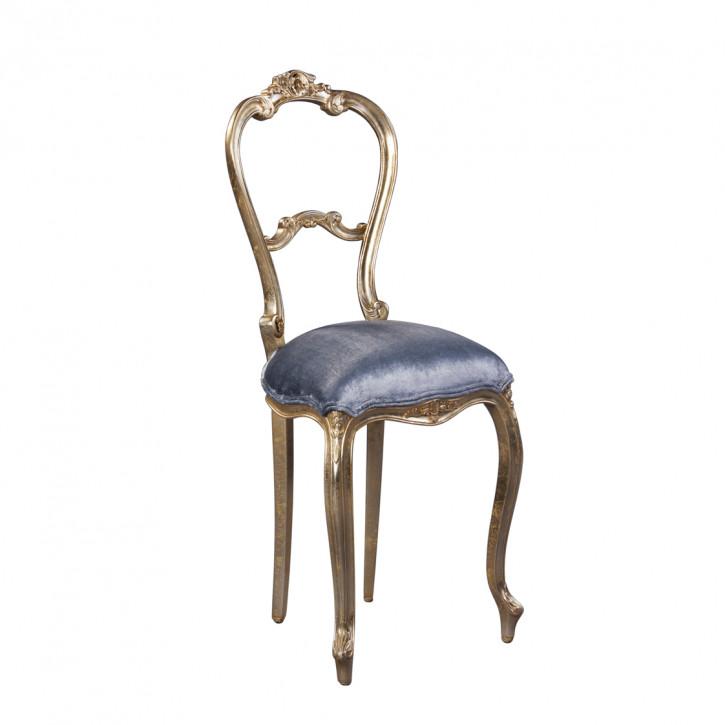 Dekostuhl in silber mit blaumen Sitzkissen aus Samt Stuhl