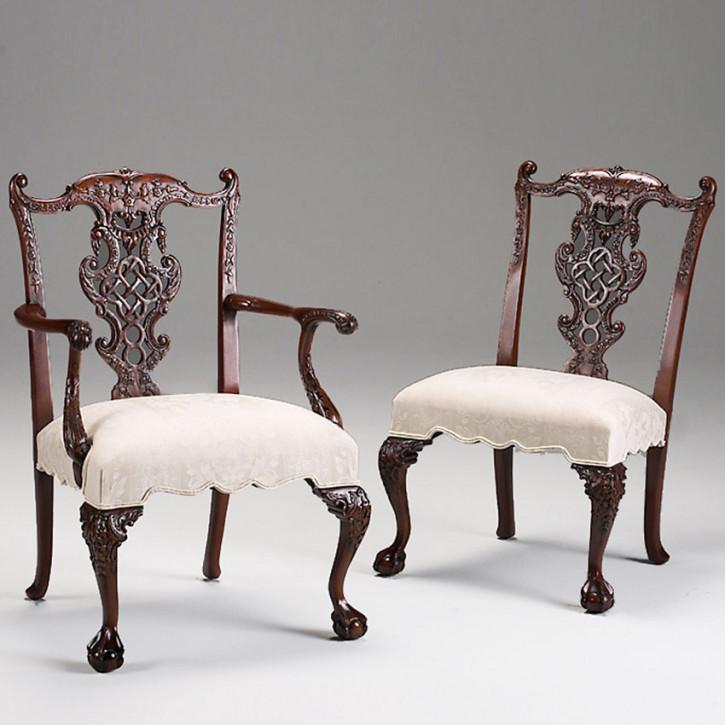 Chinese Chippendale Stuhl mit weißem Sitzkissen Dekostuhl Antik-Look