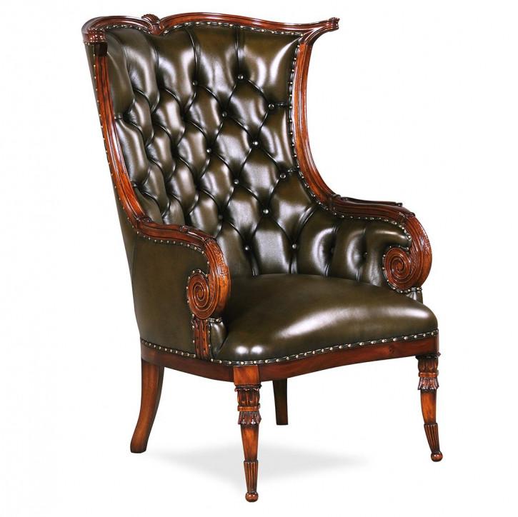 Edler Sessel aus braunem Leder und Holz Fernsehsessel Dekosessel