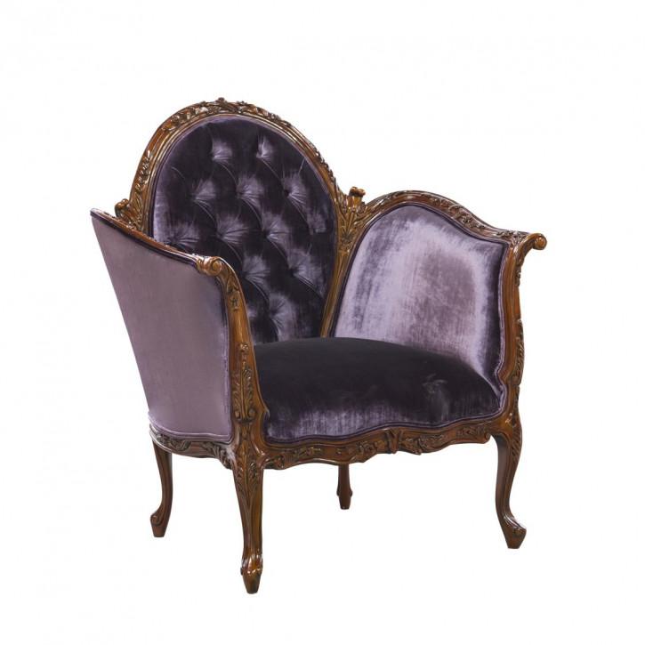 """Vintage Sessel edler Stuhl im Barock-Stil aus Holz mit violettem Samt """"Antoinette"""""""