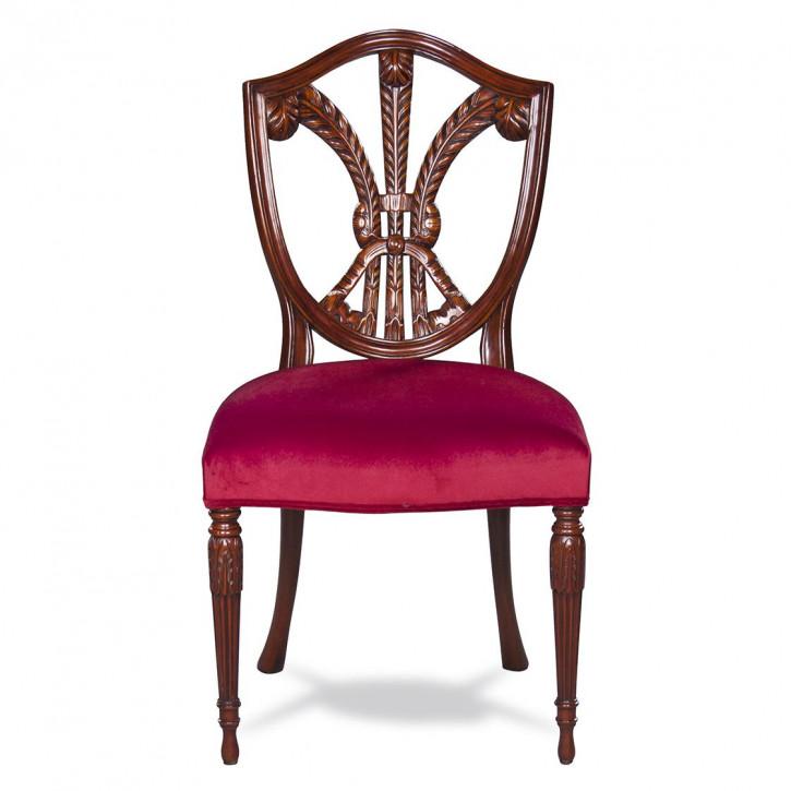 Beistell Stuhl Vintage Stuhl mit rotem Sitzkissen aus Holz