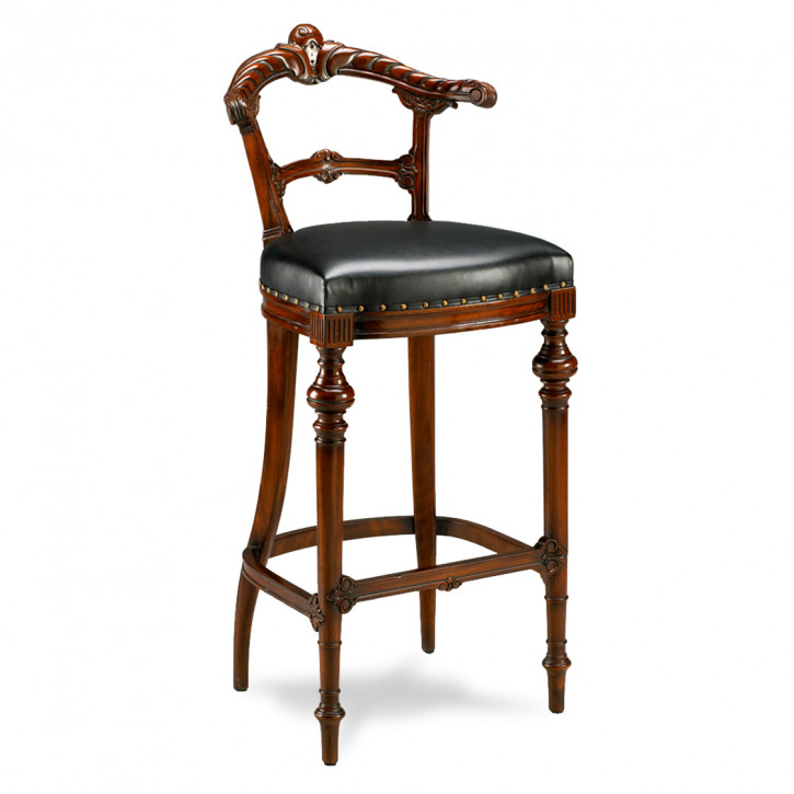 Edler Vintage Barhocker Barstuhl mit Leder-Sitzkissen aus Holz